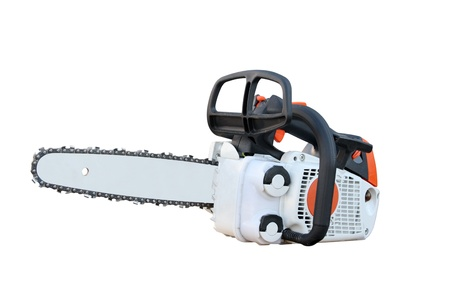 Chain saw separately on a white background photo