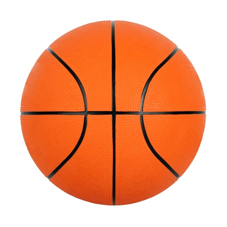 balon baloncesto: Orange pelota de baloncesto por separado sobre un fondo blanco