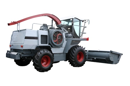 combine harvester: Grey modern combine separately on a white background