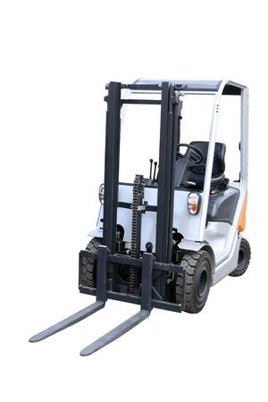 front loader: Gris cargador compacto por separado sobre un fondo blanco Foto de archivo