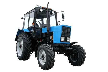 big wheel: Blue tractor separately on a white background Stock Photo