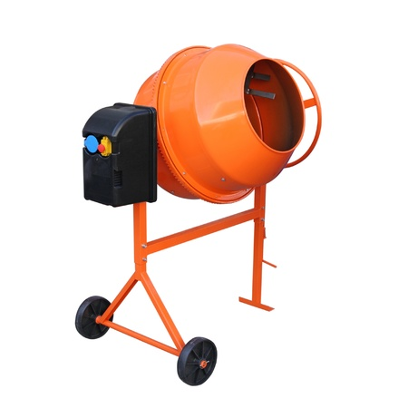 Concrete mixer isolated on the white background  photo
