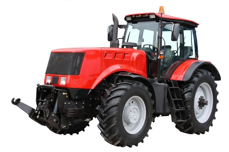 Red tractor separately on a white background photo