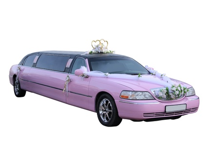 Pink wedding limousine separately on a white background