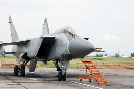 maneuverable: The modern fighting jet plane costs on an airfield
