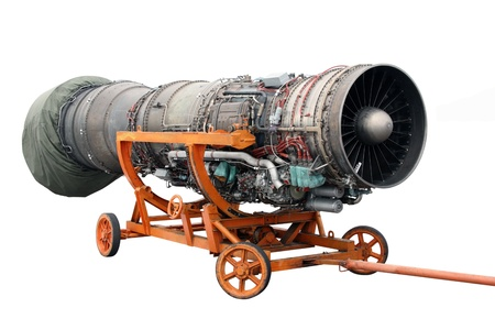 Transportation of the engine of the jet plane photo