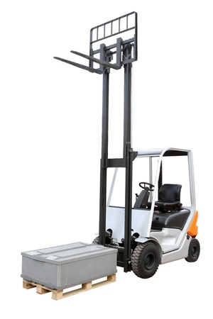 maneuverable: Grey loader isolated on a white background