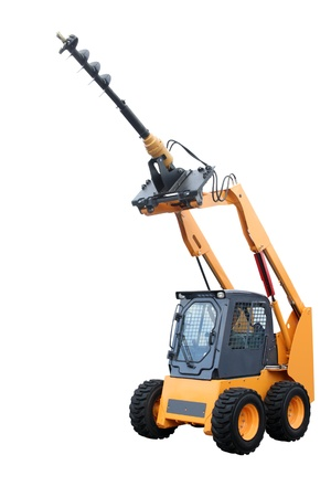 maneuverable: Yellow tractor with boring installation isolated on a white background