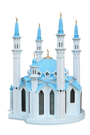 blue mosque: Breadboard model of a mosque Kul Sharif separately on a white background Stock Photo