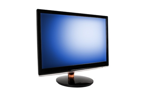 Wide LED computer monitor with the blue screen  Isolated on white background