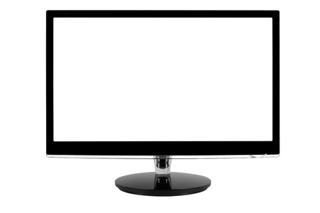 Wide LED computer monitor with the white screen.  photo
