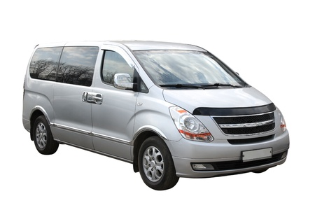 maneuverable: Small compact minivan separately on a white background Stock Photo