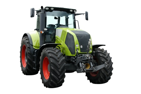 green economy: Green tractor separately on a white background