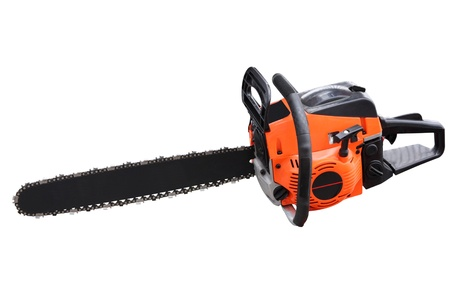 sawyer: Chain saw separately on a white background