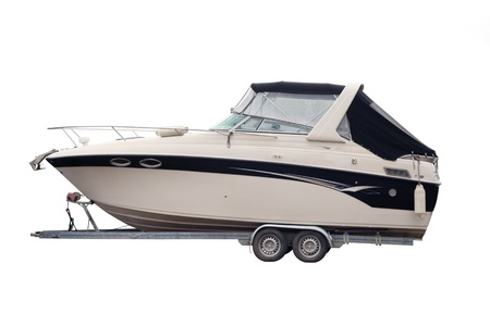 boat trailer: Motor Boat separately on a white background