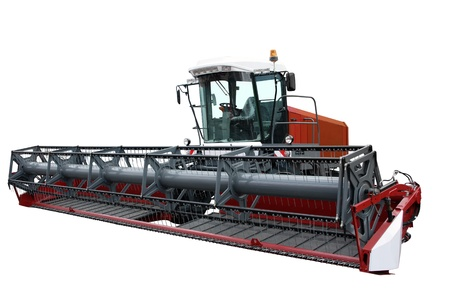 Modern combination tractor separately on a white background photo