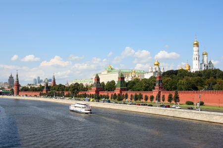 kremlin: The Moscow Kremlin and the Moskva River in a sunny day