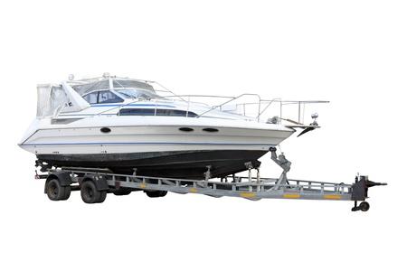 the boat on the river: Motor Boat por separado en un fondo blanco