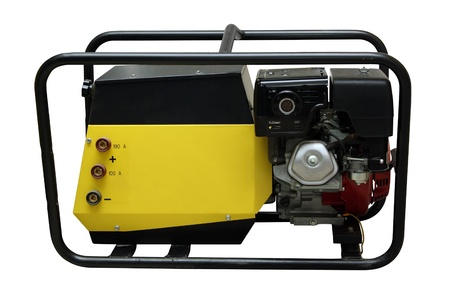 12v: The portable petrol generator of a current separately on a white background  Stock Photo