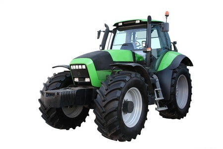 agricultural engineering: Green tractor separately on a white background