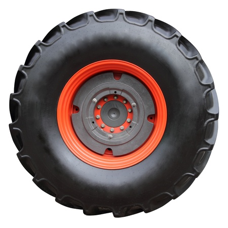Tractor tire on white background   isolated with paths