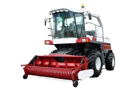 Red modern combine separately on a white background Stock Photo