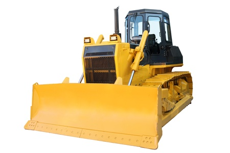 means of transport: The modern yellow bulldozer isolated on a white background
