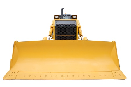 hinged: The modern yellow bulldozer isolated on a white background