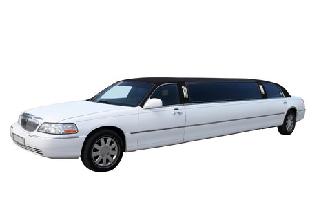 White limousine separately on a white background