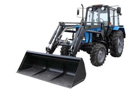 front loader: El moderno tractor de color azul oscuro aislado en un fondo blanco