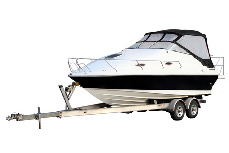 Motor yacht separately Stock Photo