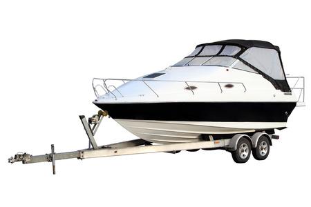 boat trailer: Motor yacht separately Stock Photo