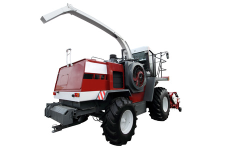 agronomics: Red modern combine isolated on a white background