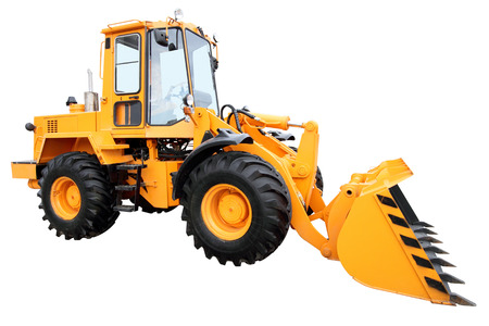 hinged: Modern yellow tractor isolated on a white background