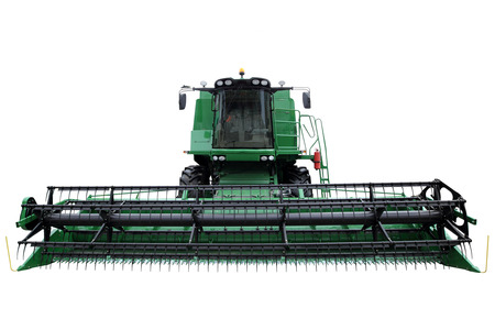 harvester: Green modern combine isolated on a white background Stock Photo