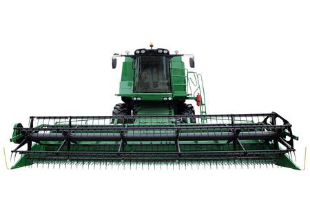 cosechadora: Moderna cosechadora verde aislado en un fondo blanco