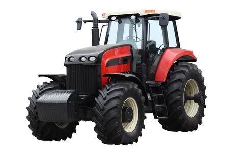 agricultural engineering: Red tractor isolated on a white background Stock Photo