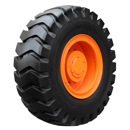 Orange tractor wheel isolated on white background