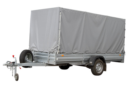 The modern automobile trailer isolated on a white background