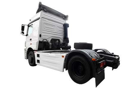 The modern lorry isolated on a white background. The rear view. Stock Photo