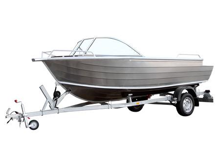 Easy boat loaded on the trailer for transportation
