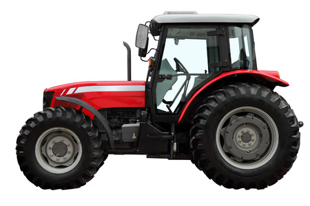 The modern red tractor is isolated on a white background. A side view.