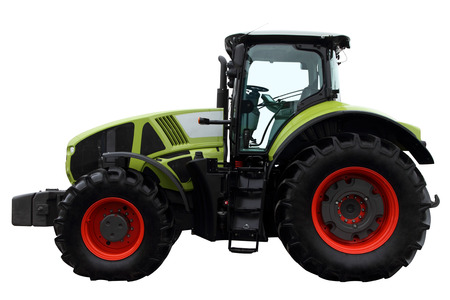 Green tractor isolated on white background. Side view.