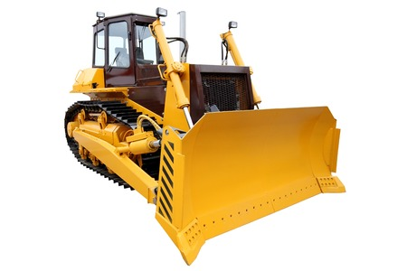 Modern crawler bulldozer isolated on white background