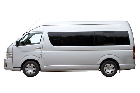 minibus: Modern minibus isolated on white background. Side view. Stock Photo