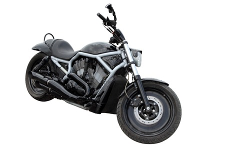 Black modern motorcycle isolated on white background Stock Photo