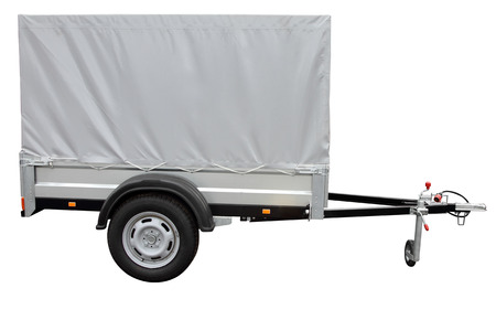Grey car trailer, isolated on white background Stock Photo