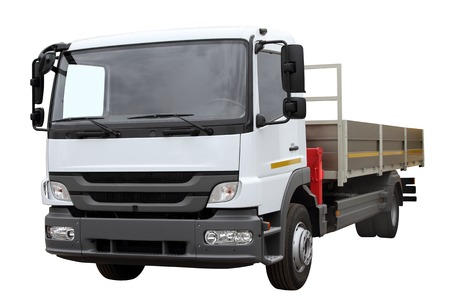 lorry: Car for transportation of goods, isolated on white background.