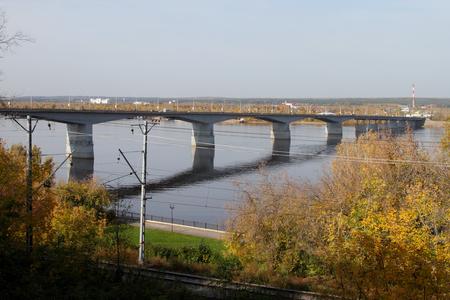 perm: Road bridge over the Kama river in Perm. Russia.
