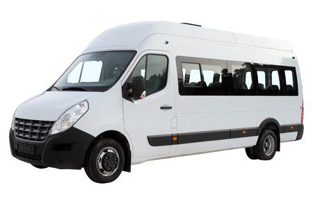 Compact minibus isolated on white background.
